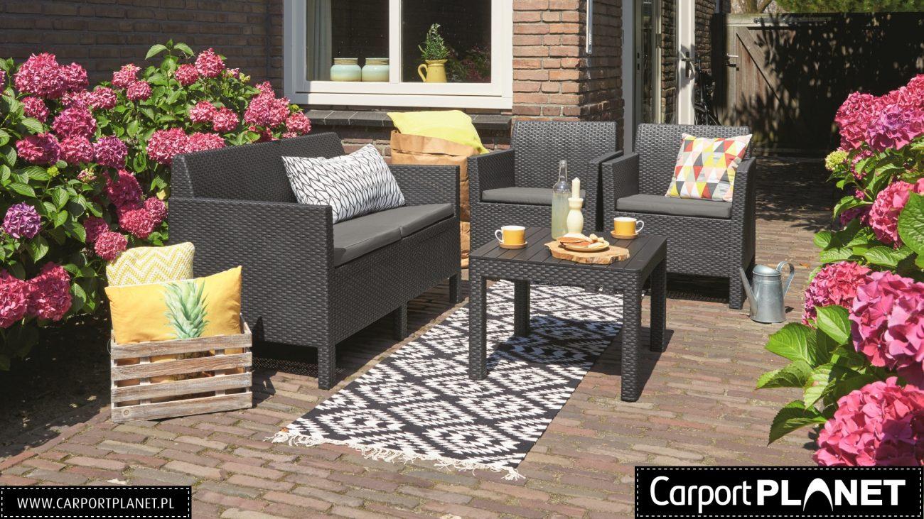 nowoczesne meble ogrodowe z technorattanu zestawy na taras